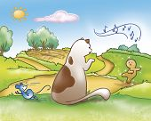 pic of field mouse  - The gingerbread boy is singing down the hill while a cat and a mouse are looking at him - JPG