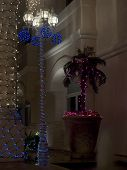 Lightpost and Palm Christmas Decorated