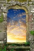 foto of heavenly  - Gate to heaven with the setting sun - JPG