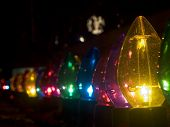 Row of outdoor large Christmas lights poster