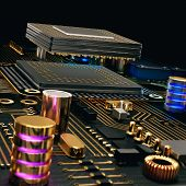 pic of transistor  - Electronic circuit chip on PC board - JPG