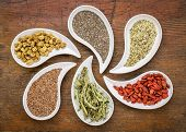 stock photo of flax seed  - superfood samples   - JPG