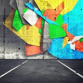 stock photo of fragmentation  - Abstract 3d graffiti fragment on the wall of concrete parking interior - JPG