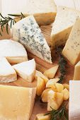 picture of cheese platter  - Assorted cheese on wooden platter - JPG