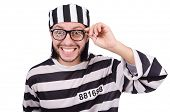 pic of prison uniform  - Prison inmate isolated on the white background - JPG
