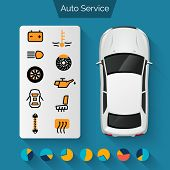 stock photo of car symbol  - Auto service infographics set with auto car repair and diagnostics symbols and charts vector illustration - JPG