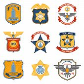 image of municipal  - Police badges law enforcement and government colored set isolated vector illustration - JPG