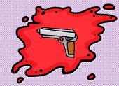 picture of pistols  - Cartoon of pistol in blood over purple halftone - JPG