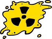 image of radioactive  - Yellow and black radioactive fallout symbol over white - JPG
