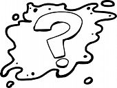 foto of mystique  - Outlined hand drawn question mark cartoon over white - JPG