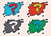 image of mystique  - Green blue red and gray cartoon question mark icons - JPG
