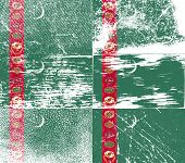 image of turkmenistan  - Flag of Turkmenistan with old texture - JPG