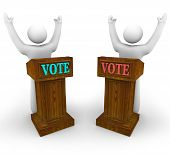 Two Candidates At Podiums - Vote