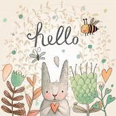 image of hare  - Stunning card with cute Rabbit - JPG