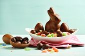 foto of easter candy  - Chocolate Easter eggs and rabbit on plate - JPG
