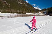 stock photo of nordic skiing  - Portrait of cute little girl cross - JPG