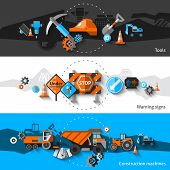 stock photo of warning-signs  - Road repair horizontal banners set with construction machines warning signs and tools elements isolated vector illustration - JPG