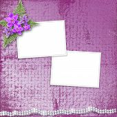 image of mother-of-pearl  - Greeting card with beautiful branch orchid and pearls for a wedding or birthday - JPG