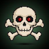 stock photo of cranium  - A pixel skull and crossbones - JPG