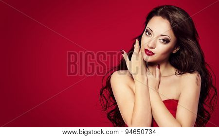 poster of Woman Face Nails, Red Fashion Model Makeup, Girl Beauty Portrait