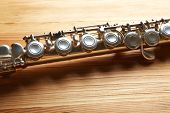pic of flute  - Flute on wooden background - JPG