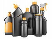 image of detergent  - Set of black bottles with detergents - JPG
