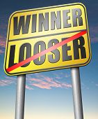 picture of lottery winners  - winner looser win or loose the sports game or competition start winning and stop being a looser change your luck  - JPG