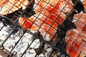 picture of charcoal  - fresh raw chicken wings on barbecue grid over charcoal spread with paprika and red hot pepper ready to cooking - JPG