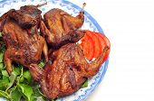 picture of quail  - Vietnamese grilled quail on a white background - JPG
