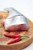 foto of pangasius  - Pangasius or Vietnamese catfish in the kitchen in a white background - JPG
