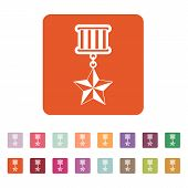 stock photo of medal  - Flat vector illustration of a medal with button set - JPG