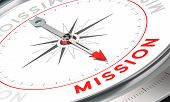 image of mandate  - Compass with needle pointing the word mission - JPG