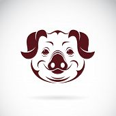 image of pig head  - Vector image of an pig head on white background - JPG