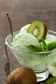 pic of mint-green  - fruit creamy ice cream with green kiwi and mint - JPG