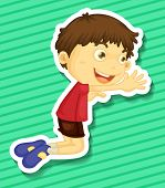 picture of kneeling  - Sticker of a boy kneeling on the trying to reach out for something - JPG