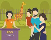 image of zoo  - Family with children is going to the zoo using an e - JPG