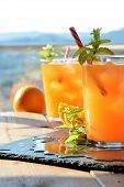 picture of vodka  - refreshing drink orange and mint with a little vodka - JPG
