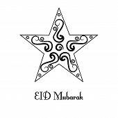 image of crescent  - vintage black and white  Beautiful greeting card for Eid Mubarak festival  - JPG