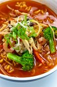 stock photo of korean  - Soup with noodles and vegetables  - JPG