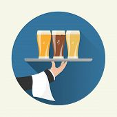 pic of waiter  - Waiter with three glasses of beer and tray on outstretched arm - JPG