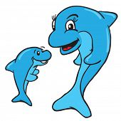 foto of dolphins  - mom and baby dolphin cartoon illustration - JPG