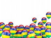 stock photo of mauritius  - Flying balloons with flag of mauritius isolated on white - JPG