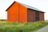 picture of red barn  - Swedish red Barn in field by road - JPG