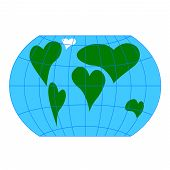 pic of continent  - A world globe with continents in the shape of a heart symbols - JPG