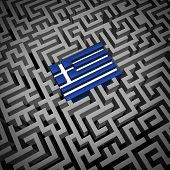 stock photo of crisis  - Greece crisis or Greek debt crisis and austerity management concept as the blue and white flag inside a complicated maze or labyrinth as an Athens financial metaphor for European economic social issues - JPG