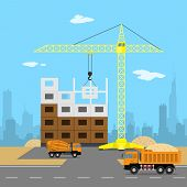 stock photo of mixer  - picture of a house construction process crane dump truck concrete mixer sand big city silhouette on background flat style illustration - JPG