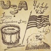 stock photo of drum-set  - Usa waving flag bald eagle and drum with drumsticks American symbols fourth of july set Hand drawn sketch text happy independence day on old paper background - JPG