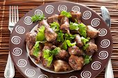 foto of cilantro  - Duck Hearts in butter with cilantro shot from above - JPG