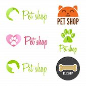 Set of vintage logo and logotype elements for pet shop, house or clinic poster
