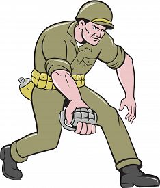 picture of grenades  - Illustration of a World War two American soldier serviceman holding grenade set on isolated white background done in cartoon style - JPG